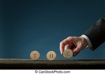 THC sign on wooden cut circles