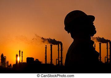 the, 侧面影象, 在中, 炼油厂, 工人, 在, 日落