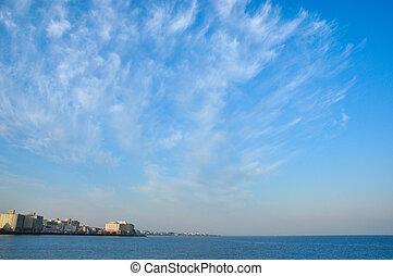 the, 光, 云霧, 在, the, 藍色的天空