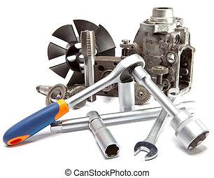 the, 分開, 汽車, 高壓, 泵, 以及, the, 工具, 為, 修理, 在懷特上, 背景