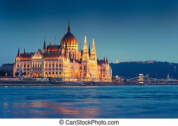 the, 匈牙利人, 議會 大廈 在 晚上, 布達佩斯