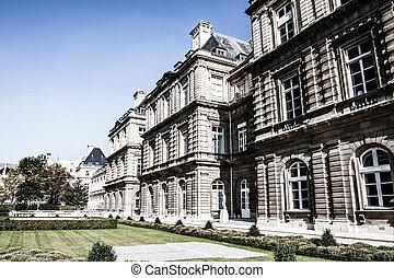 the, 卢森堡, 宫殿, 在中, 美丽, 花园, 巴黎, 法国