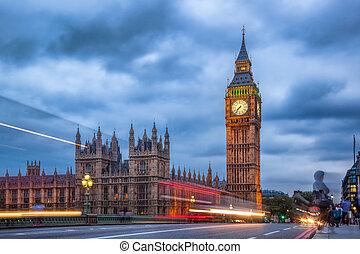 the, 大本鐘, 以及, the, 議會的房子, 夜間, 倫敦, 英國