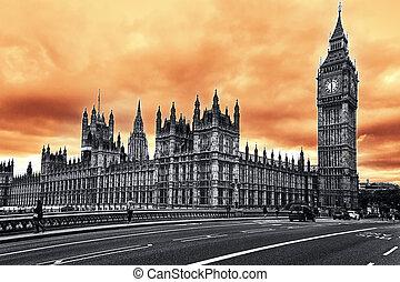 the, 大本鐘, the, 議會的房子, 倫敦