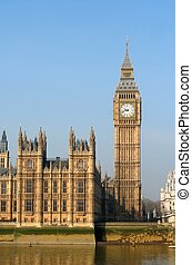 the, 大本鐘, the, 議會, 以及, the, 威斯敏斯特 橋梁, 夜間, 倫敦, 英國