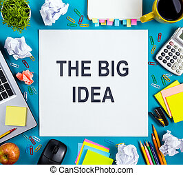 the, 大, idea., 正文, 詞, 建議, 上, 辦公室, 桌子, 書桌, 由于, 提供, 白色, 空白, 筆記襯墊, 杯子, 鋼筆, 個人電腦, 弄皺紙, 花, 木制, 背景。, 頂視圖