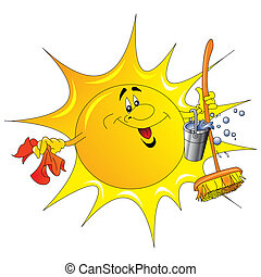 the, 太陽, 由于, 桶, 以及, 碎布, 洗滌