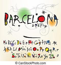the, 字母表, 在, 風格, 西班牙語, 藝術家, ......的, joan, miro