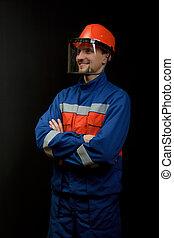 the, 工人, 在, 套衣, 以及, a, 鋼盔