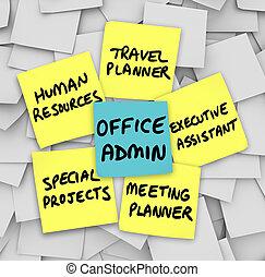 the, 很多, 義務, ......的, the, 現代, 辦公室, 管理者, 詞, 寫, 上, 黏性的筆記, 包括,...