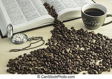 the, 書, a, 杯咖啡, 咖啡豆, 以及, a, 懷錶, 上, a, 木製的桌子