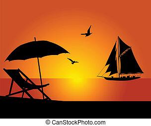 the, 海灘, 以及, 游艇