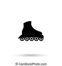 the, 滚筒滑冰, icon., 冰鞋, 符号