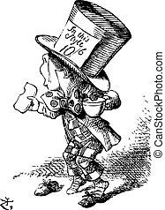 the, 瘋狂, 帽商, 到達, 倉促地, 在, 庭院, 到, 作證, -, alice's, 冒險, 在, 奇境,...