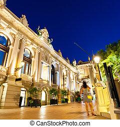 the, 盛大的娛樂場, 蒙特牌戲, -, carlo, 在, night., 摩納哥