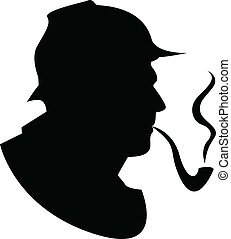 the, 矢量, 黑色半面畫像, 管子, 吸煙者