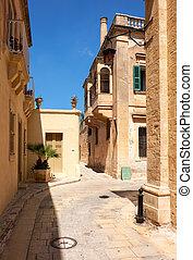 the, 窄的街, 以及, 居住, 房子, ......的, mdina, the, 老, 首都, ......的, malta.