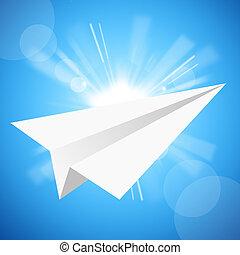 the, 紙飛機, 在, the, 藍色的天空
