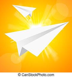 the, 紙飛機, 在, the, 黃色的天空