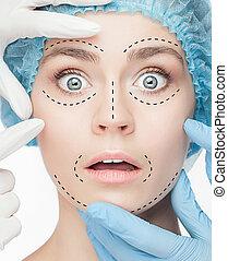 the, 美麗的婦女, 以前, 整形手術, 操作, ......的, 整容術
