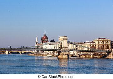 the, 著名, 鏈條橋梁, 在, 布達佩斯, 匈牙利