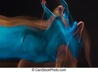 the, 藝術, photo-emotional, 跳舞, ......的, 美麗, 藍色, 婦女