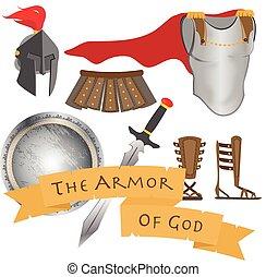 the, 裝甲, ......的, 上帝, 戰士, 耶穌基督, 圣靈, 簽署, 矢量, 插圖