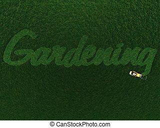 the, 詞, 園藝, 刪去, 在, grass.