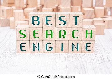 the, 詞, 最好, 搜索引擎, 形成, 所作, 木製的塊, 上, a, 白色, 桌子