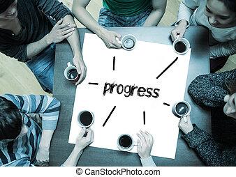 the, 詞, 進展, 上, 頁, 由于, 人們坐, 大約, 桌子, 喝咖啡