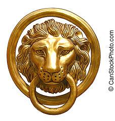 the, 門把手, -, 頭, ......的, a, lion.