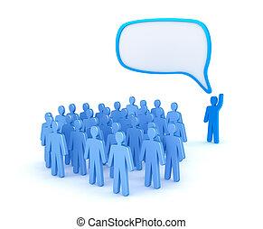 the, 領導人, 講話, 到, a, 人群, 被隔离, 在懷特上