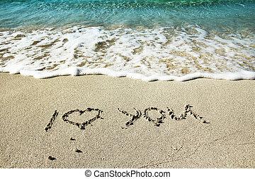 the, 題字, 在沙子上, 海岸
