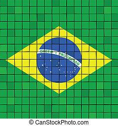 the, 馬賽克, 旗, ......的, 巴西