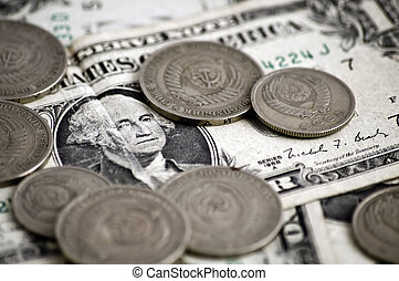american dollar and soviet rubles close-up