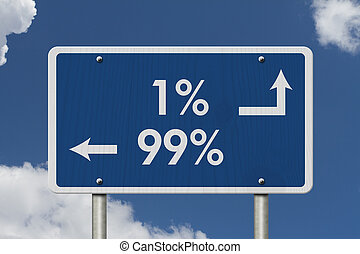 The 1% ers versus the 99% ers, Blue Road Sign with text 1%...