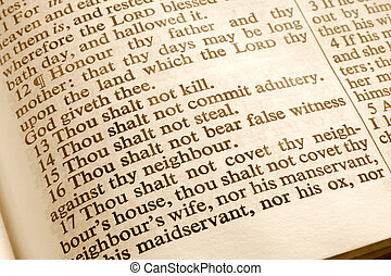 The 10 commandments. - Close up of the 10 commandments in an...