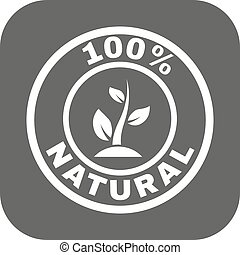 The 100 percent natural icon. Eco and bio, ecology symbol. Flat