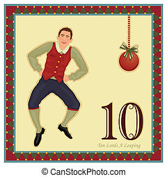 The 12 Days of Christmas - 10-th Day - Ten Lords A Leaping Vector illustration saved as EPS AI 8, no effects, easy print.