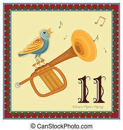 The 12 Days of Christmas - 11-th Day - Eleven Pipers Piping Vector illustration saved as EPS AI 8, no effects, no gradients, easy print.