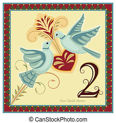 The 12 Days of Christmas - 2-nd day - Two turtle doves. Vector illustration saved as EPS AI 8, no effects, no gradients, easy print.