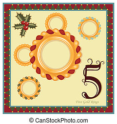The 12 Days of Christmas - 5th Day - Five Gold Rings Vector...