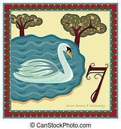 The 12 Days of Christmas - 7th Day - Seven Swans A Swimming Vector illustration saved as EPS AI 8, no gradients, no effects, easy print.