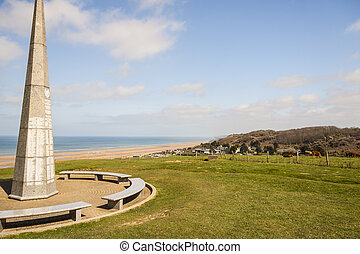 The 1st infantry division monument near Omaha Beach in Normandy - France, Europe.