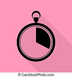 The 20 seconds, minutes stopwatch sign. Black icon with flat style shadow path on pink background.