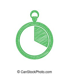 The 20 seconds, minutes stopwatch sign. Green scribble Icon with solid contour on white background. Illustration.