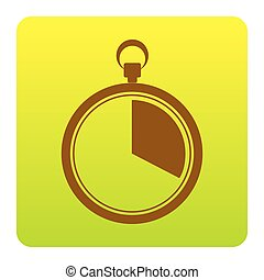 The 20 seconds, minutes stopwatch sign. Vector. Brown icon at green-yellow gradient square with rounded corners on white background. Isolated.