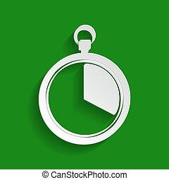 The 20 seconds, minutes stopwatch sign. Vector. Paper whitish icon with soft shadow on green background.