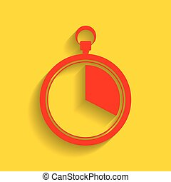 The 20 seconds, minutes stopwatch sign. Vector. Red icon with soft shadow on golden background.