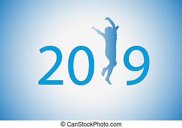 The 2019 figure was on a blue background. Silhouette of a girl who dances instead of 1.